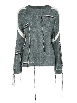 Ericdress Slim Color Block Tassel Patchwork Sweater