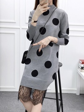 Ericdress Polka Dots Lace Patchwork Knee-Length Sweater Dress