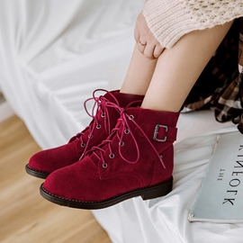 Ericdress All Match Buckle Lace-Up Plain Ankle Boots
