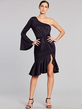 Ericdress Asymmetric One Shoulder Flare Sleeves Pleated Sheath Dress