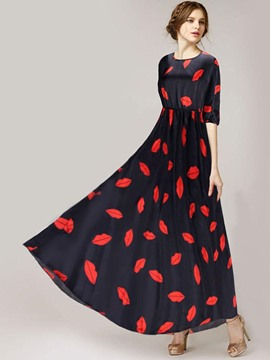 Ericdress Kiss Print High-Waist Expansion Maxi Dress