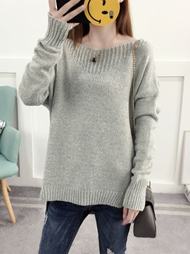 Ericdress Plain Mid-Length Pullover Sweater