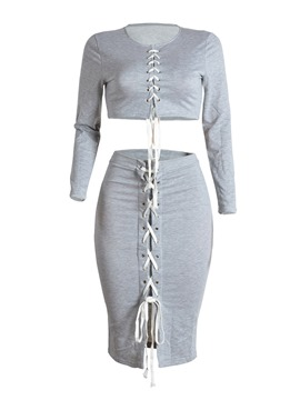 Ericdress Lace-Up T-Shirt and Skirt Women's Two Piece Set