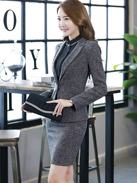 Ericdress One Button Plaid Blazer and Bodycon Skirt Women's Professional Skirt Suit