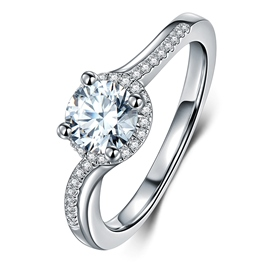 MarkChic Classic Twisted Arm Round Cut Four-Claw Wedding Ring