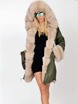 Ericdress Plain Fur Collar Loose Mid-Length Coat