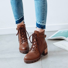 Ericdress Plain Lace-Up Chunky Heel Women's Ankle Boots