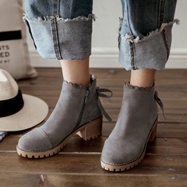 Ericdress Bowknot Decorated Plain Chunky Heel Ankle Boots