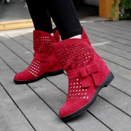 Ericdress Hollow Slip-On Plain Ankle Boots with Bowknot