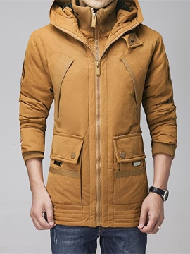 Ericdress Solid Color Thicken Warm Zip Winter Men's Winter Coat
