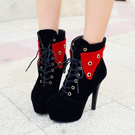 Ericdress Color Block Platform Stiletto Heel Boots