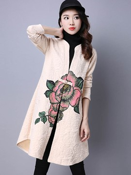 Ericdress Mid-Length Loose Floral Trench Coat