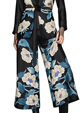 Ericdress Ankle Length Wide Leg Floral Women's Casual Pants
