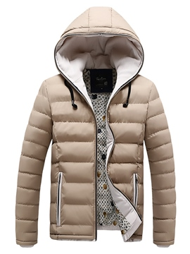 Ericdress Plain Lightweight Down Thicken Warm Hooded Slim Men's Winter Coat