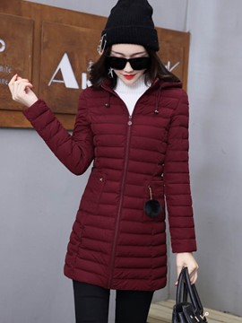 Ericdress Mid-Length Zipper Plain Hooded Coat