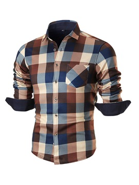Ericdress Plaid Velvet Warm Casual Men's Shirt