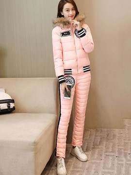 Hooded Padded Coat and Thicken Pants Women's 2-Piece Set
