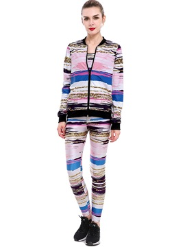Ericdress Print Jacket Vest and Pants Women's 3-Piece Set