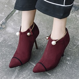 Ericdress Fashion Color Block Beads High Heel Ankle Boots