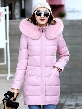 Ericdress Stand Collar Zipper Fur Down Coat
