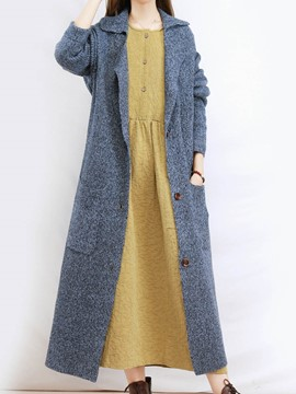 Ericdress Single-Breasted Lapel Cardigan Knitwear