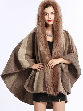 Ericdress Stripe Thick Fur Cardigan Cape