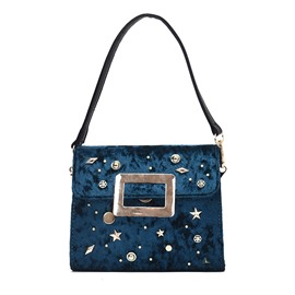 Ericdress Vogue Rivet Velvet Shoulder Bag