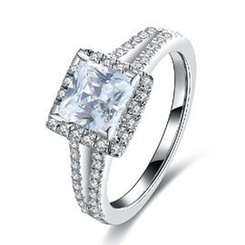 MarkChic Princess Cut White Sapphire Created SONA Diamond Wedding Ring