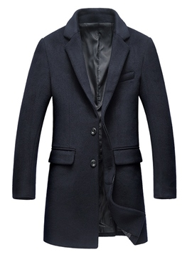 Ericdress Plain Notched Lapel Vogue Slim Men's Woolen Coat