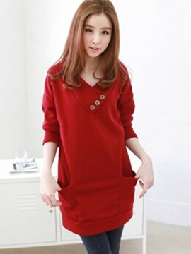 Ericdress V-Neck Mid-Length Plain Sweatshirt