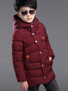 Ericdress Thick Warm Plain Long Sleeve Hooded Boys Cotton Coat