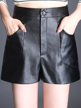 Ericdress PU High-Waist Pocket Shorts Pants