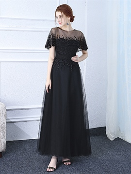 Ericdress A Line Short Sleeve Applique Long Evening Dress In Floor Length
