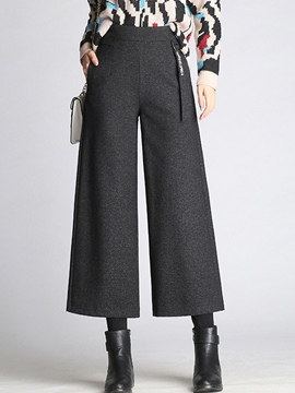 Ericdress Thick High-Waist Wide Leg Ankle Length Women's Dress Pants
