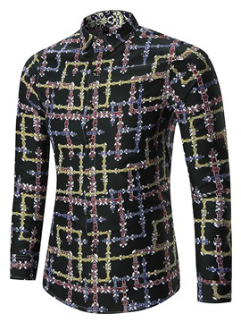 Ericdress Plaid Print Lapel Long Sleeve Vogue Slim Men's Shirt