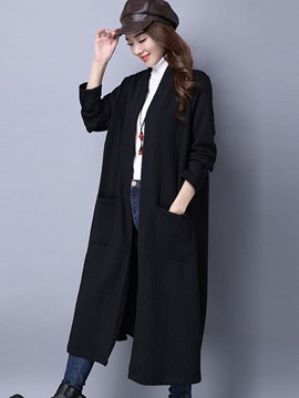 Ericdress Loose Thick Plain Mid-Length Trench Coat