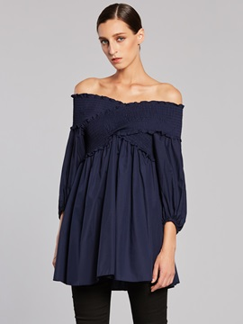 Ericdress Slash Neck Lantern Sleeve Backless Blouse