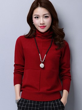 Ericdress Heap Collar Slim Plain Knitwear