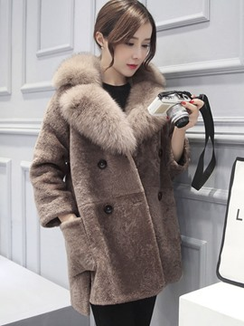 Ericdress Mid-Length Loose Double-Breasted Fur Coat