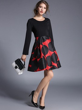 Ericdress Color Block Long Sleeve Print Fall A Line Dress