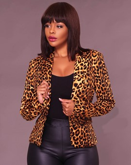 Ericdress Notched Lapel Leopard One Button Jacket