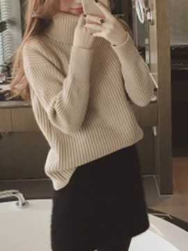 Ericdress Plain Turtleneck Thick Sweater