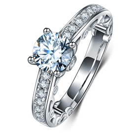 MarkChic Exquisite Round Cut Four-Prong Setting Engagement Ring