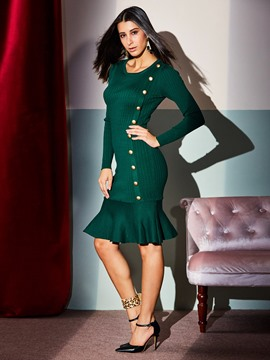 Ericdress Long Sleeve Single-Breasted Slim Mermaid Dress