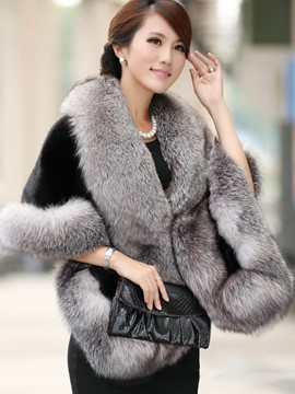 Ericdress Plain Thick Faux Fur Cape