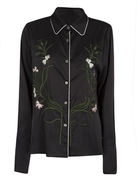 Ericdress Color Block Floral Embroideried Shirt
