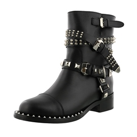 Ericdress Popular Rivet Slip-On Ankle Boots with Buckle