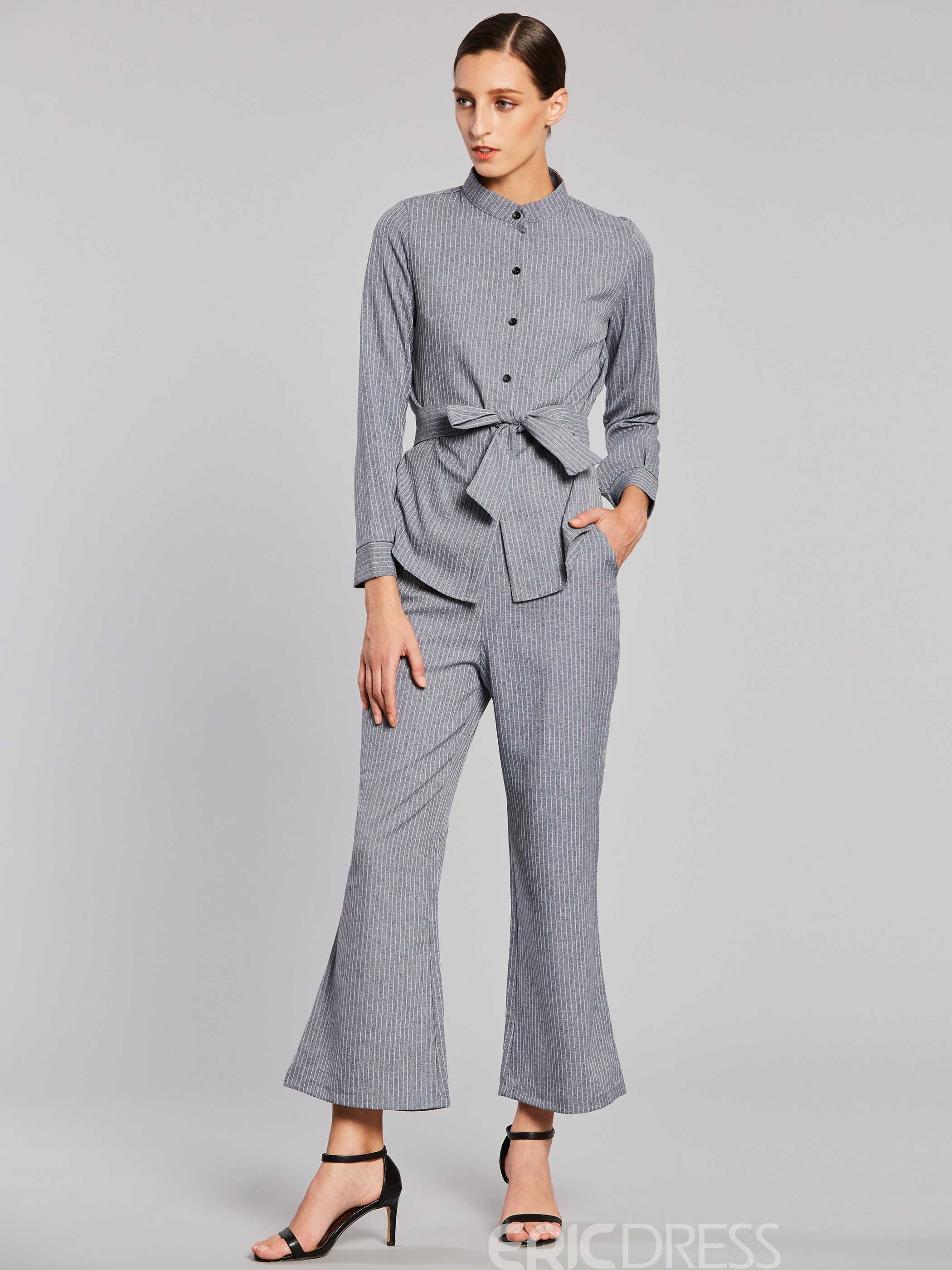 Ericdress Stripe Single-breasted Lace-up Shirt And Wide Leg Pants Womens Elegant Suit
