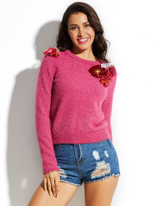 Ericdress Round Neck Knitwear Applique Vacation Sweater
