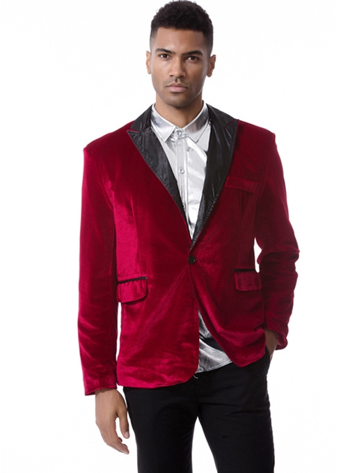 Ericdress Plain Corduroy Notched Lapel Single-Breasted Vogue Slim Men's Blazer